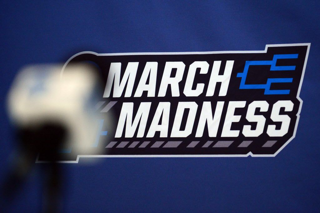 Mar 17, 2016; St. Louis, MO, USA; A detailed shot of the March Madness logo in the press conference room during a practice day before the first round of the NCAA men's college basketball tournament at Scottrade Center. Mandatory Credit: Jeff Curry-USA TODAY Sports