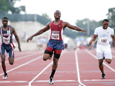 5/10/08-- UIL Track & Field -- Garland Rowlett's Marquise Goodwin came in 2nd in the Boys 5A 100 meter dash in the UIL Track & Field State Championships at the Mike A. Myers Stadium in Austin,  Texas.  Saturday May 10,  2008. 06102008xSports
