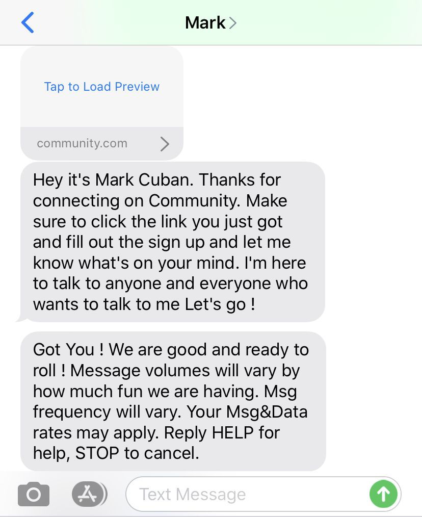 The automated message fans will receive when texting Mark Cuban's Community number.