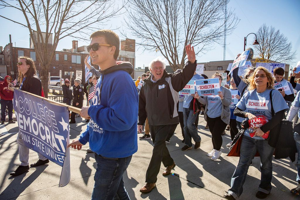 """Sen. Bernie Sanders, I-Vt.,walked in the Iowa State Homecoming Parade last month in Ames, Iowa, while campaigning for J.D. Scholten, the Democratic candidate for Iowa's 4th Congressional District. The Vermont senator went on a campaign blitz across nine states to ensure that Democrats get out and vote. """"Overconfidence will result in disaster,"""" he said."""