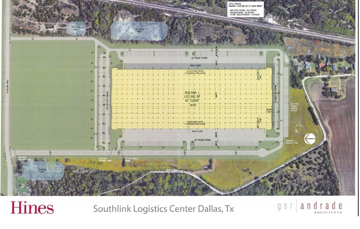 Hines' Dallas warehouse project is just south of Interstate 20.