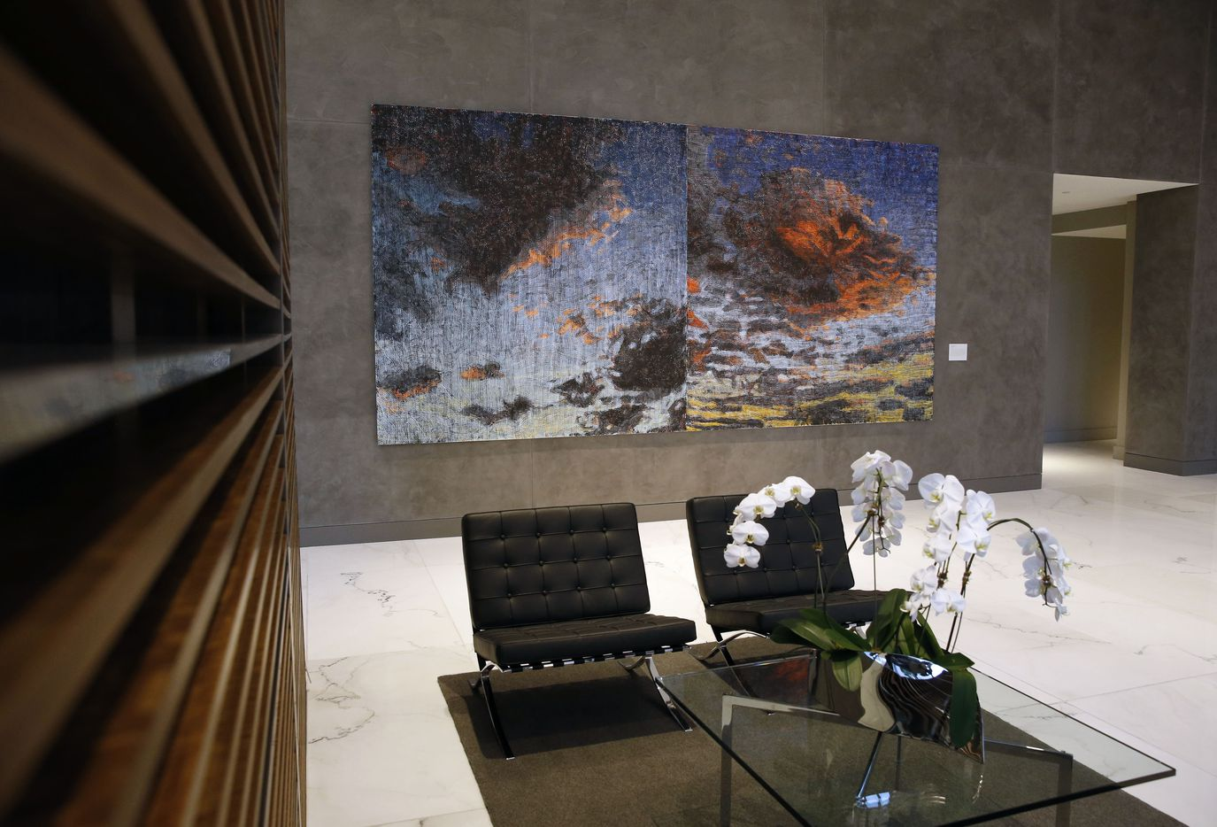Amagansett Diptych by Jennifer Losch Bartlett is on display in the new Park District high-rise complex in Dallas.