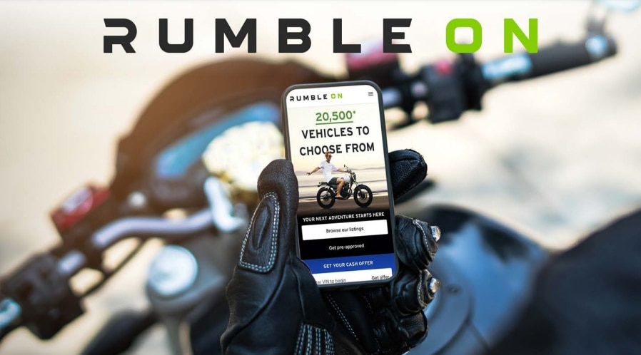 RumbleOn has listings for more than 50,000 motorcycles on its website. The site also has listings for recreational vehicles, boats, trailers and snowmobiles.