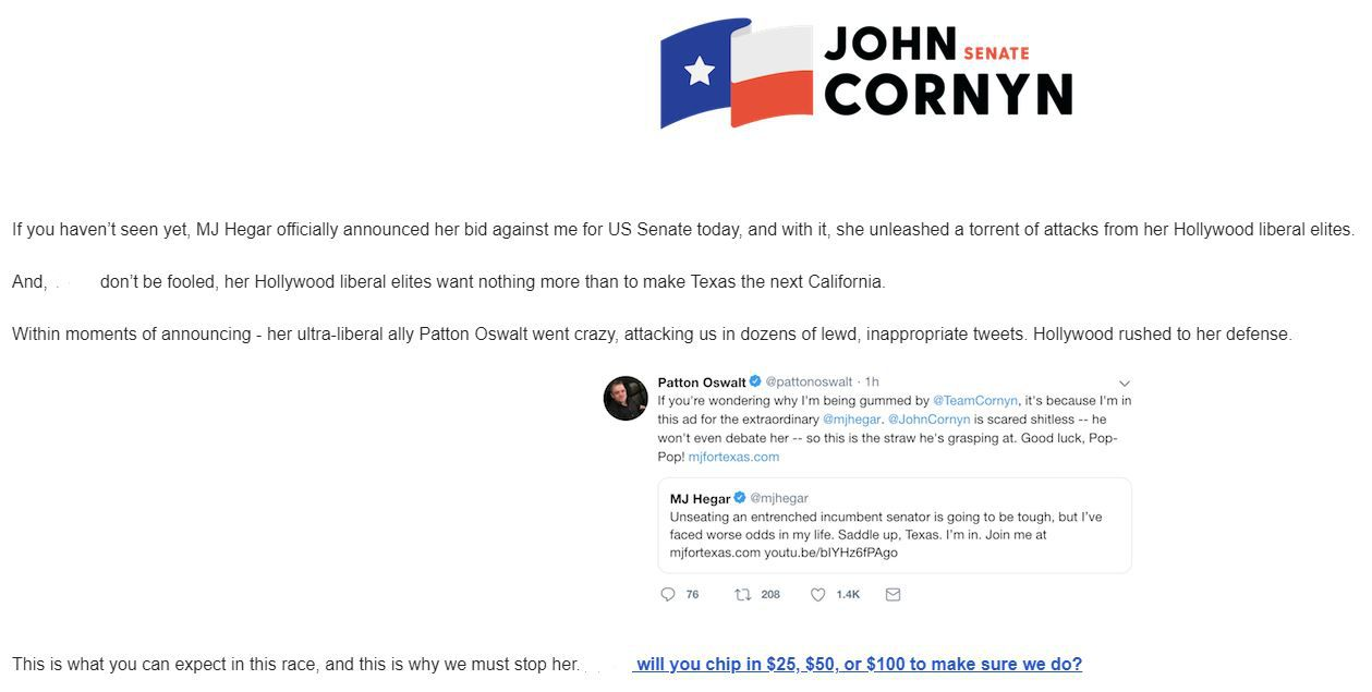 Cornyn campaign fundraising email sent April 23, 2019, seeking to drum up donations by using comedian Patton Oswalt's support for Democrat M.J. Hegar.