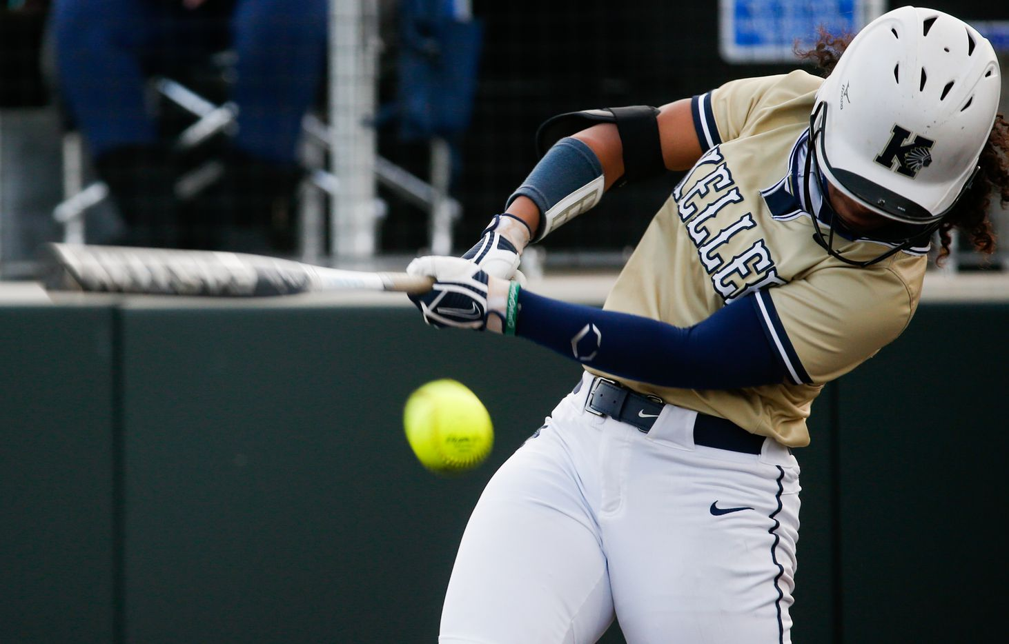 Keller's Dorianna Brown (11) bats against Denton Guyer during the first inning of a nondistrict softball game in Denton on Tuesday, March 30, 2021. (Juan Figueroa/ The Dallas Morning News)