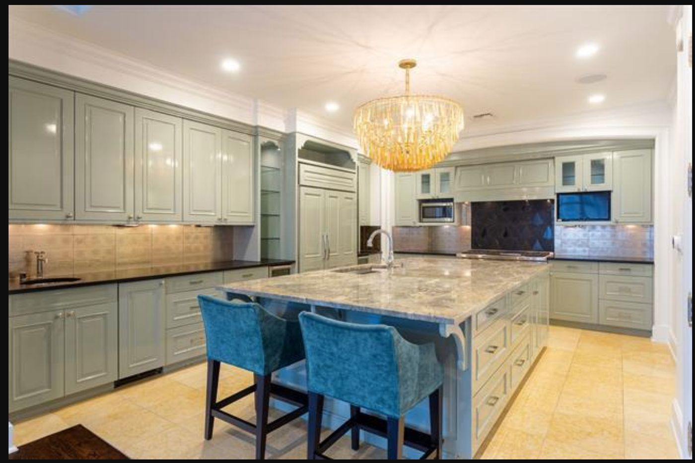 The kitchen has hand-crafted cabinetry.