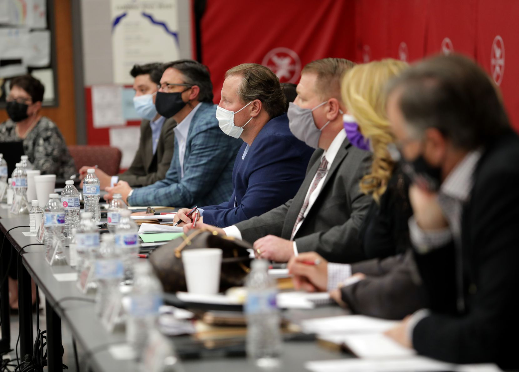 Schoolboard members hold a Lovejoy ISD public meeting at Lovejoy Elementary in Allen, Texas, on April 19, 2021.