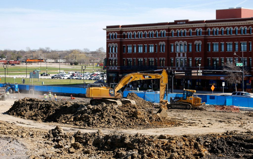 Construction continues where the future home of the National Soccer Hall of Fame Museum will stand at Toyota Stadium in Frisco.