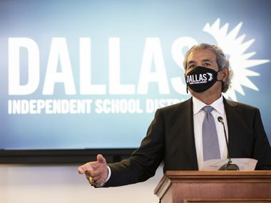 Dallas ISD Superintendent Dr. Michael Hinojosa announces that masks will be required at all Dallas ISD schools at DISD headquarters in Dallas, Monday, August 9, 2021. (Brandon Wade/Special Contributor)