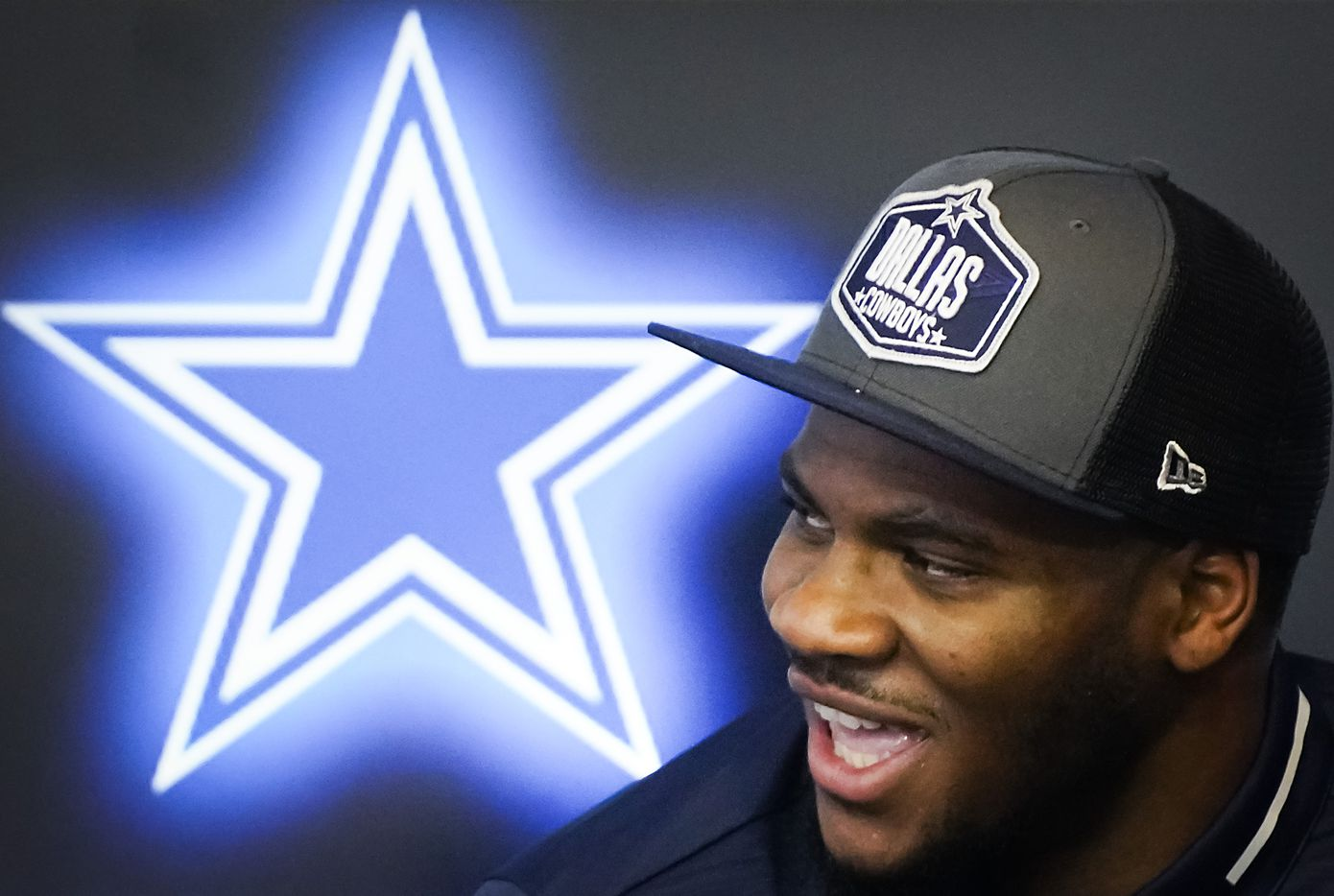 Dallas Cowboys first-round draft pick Micah Parsons laughs during a press conference introducing the linebacker from Penn State at The Star on Friday, April 30, 2021, in Frisco. (Smiley N. Pool/The Dallas Morning News)