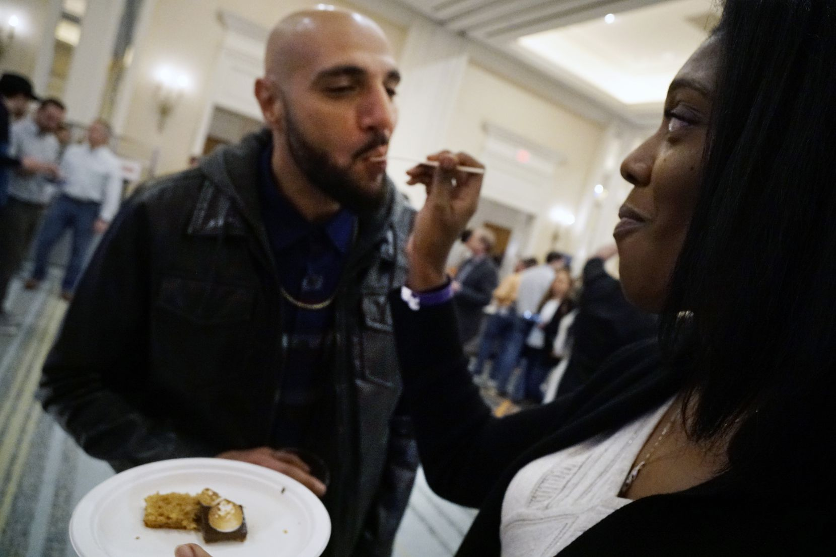 Karim Georgy and Jackie Jones share a pork sample at Cochon555. You can pig out all you want at the cooking competition Feb. 9.