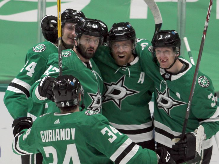 Dallas Stars forward Joe Pavelski (16), second from right, set off a celebration following his 3rd period goal during action against the Nashville Predators. Pictures from left to right are Stars players Rope Hintz (24), Alexander Radulov (47), Pavelski (16), John Klingberg (3) and Denis Gurianov (34), front. The two teams played their NHL game at the American Airlines Center in Dallas on January 24 , 2021.