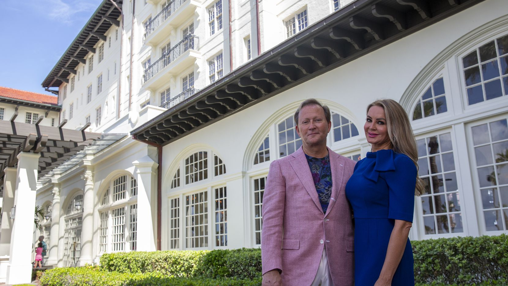 Mark and Lorenda Wyant on the terrace of the Grand Galvez Hotel in Galveston. The owner and CEO of Dallas-based Seawall Hospitality LLC bought the Hotel Galvez & Spa in May for more than $50 million.