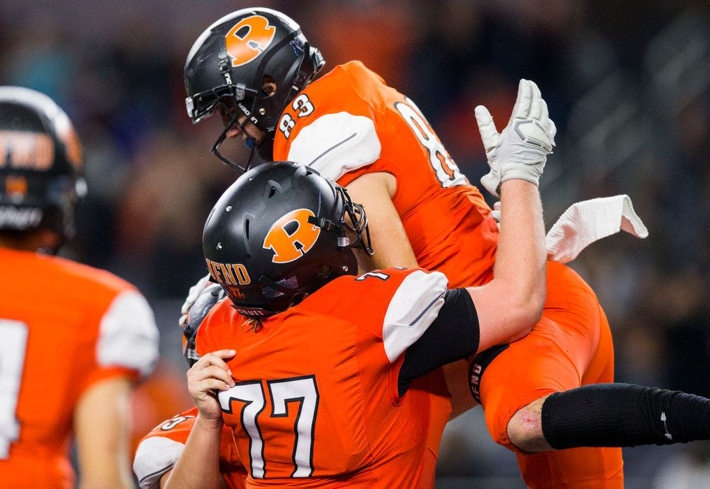 Rockwall tight end Kade Klinkovsky (83) celebrates a touchdown during the fourth quarter of a Class 6A Division I area-round high school football playoff game between Allen and Rockwall on Friday, November 22, 2019 at AT&T Stadium in Arlington. (Ashley Landis/The Dallas Morning News)