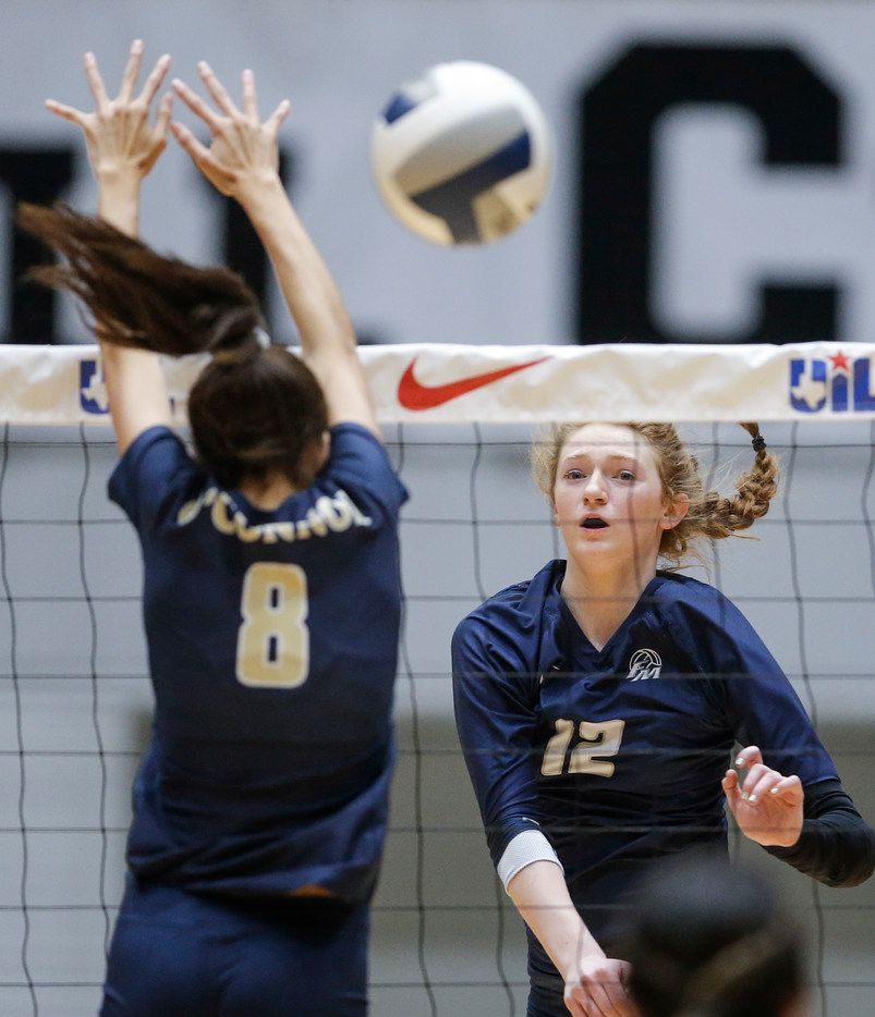 Flower Mound's Angelique Cyr (12) spikes the ball against Northside O'Connor in last year's Class 6A state semifinals. (Brandon Wade/Special Contributor)