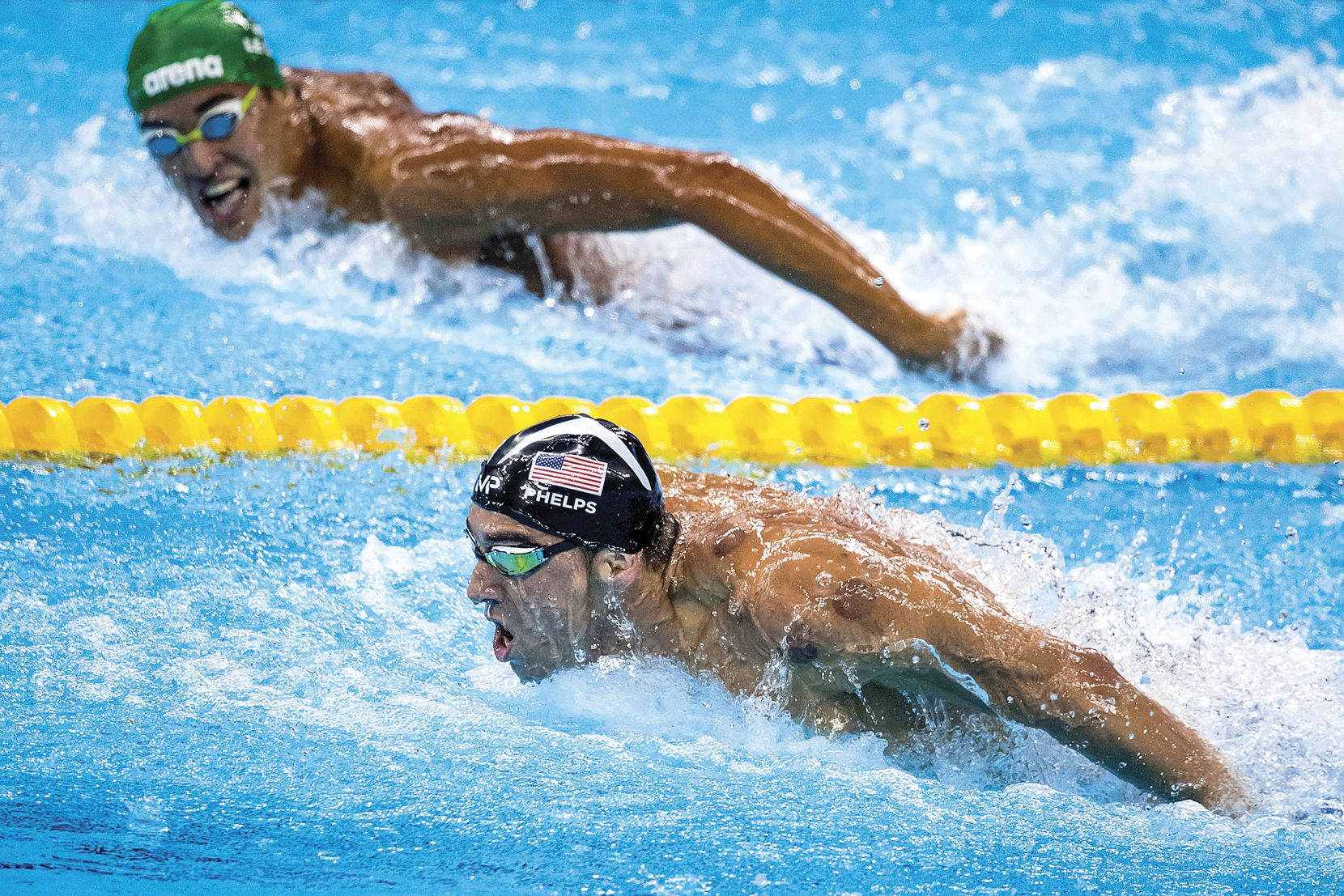 Michael Phelps led Chad Guy Bertrand Le Clos of South Africa as the American closed in on the gold medal in the men's 200-meter butterfly final at the Rio Games on Aug. 9. It was Phelps'€™ 20th gold medal, and by the time the Games were over, he would claim three more.