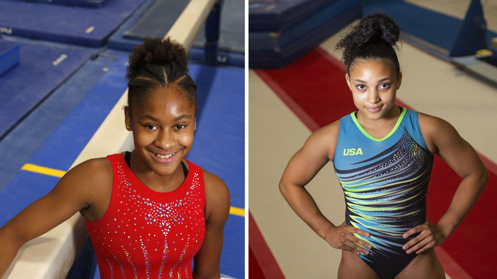 Skye Blakely (left) and Sydney Barros (right) pose for portrait photos.