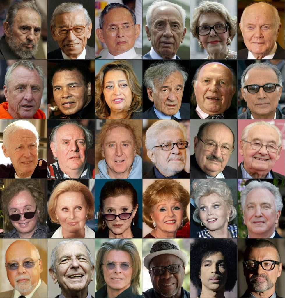 This combination of pictures created on December 29, 2016 shows public figures who passed away in 2016 (from top L) Former Cuban President Fidel Castro, Boutros Boutros-Ghali, Thai King Bhumibol Adulyadej, Israeli President Shimon Peres, Former US first lady Nancy Reagan, US Senator and astronaut John Glenn, Former Dutch football player Johan Cruyff, US boxing legend Muhammad Ali, Iraqi architect Zaha Hadid, Nobel Prize winner Elie Wiesel, Hungarian writer and literature Nobel prize Imre Kertesz, Iranian film director Abbas Kiarostami, US photographer Bill Cunningham, Italian writer, litterature nobel prize winner and actor Dario Fo, US film director and actor Gene Wilder, Italian film director Ettore Scola, Italian writer Umberto Eco, Polish film director Andrzej Wajda, US film director Michael Cimino, French actress Michele Morgan, US actress Carrie Fisher, US actress Debbie Reynolds, US actress Zsa Zsa Gabor, British actor Alan Rickman, Rene Angelil, husband and manager of the singer Celine Dion, Canadian singer Leonard Cohen, British singer David Bowie, Congolese singer Papa Wemba, US singer Prince, British singer George Michael. (AFP/Getty Images)