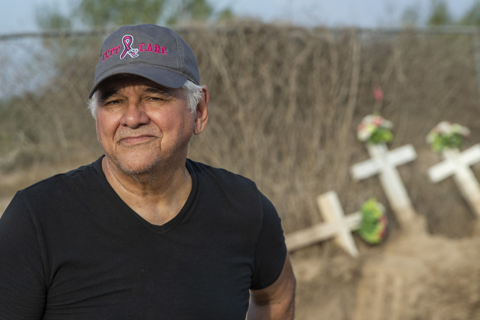 Eddie Canales, at a cemetery in La Grulla, works with Kate Spradley's Operation Identification anthropology project at Texas State University, which helps catalog and identify human remains of migrants who have perished in South Texas.
