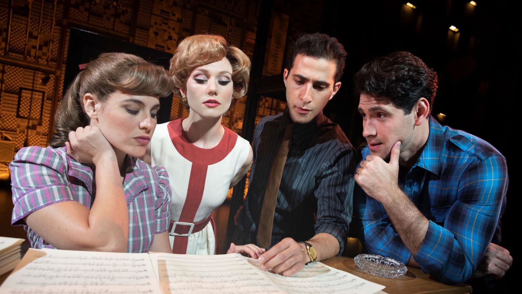"""From left, Sarah Bockel (Carole King), Alison Whitehurst (Cynthia Weil), Jacob Heimer (Barry Mann) and Dylan S. Wallach (Gerry Goffin) perform in 'Beautiful"""" June 18-23 at the Winspear Opera House in Dallas. Photo by Joan Marcus."""