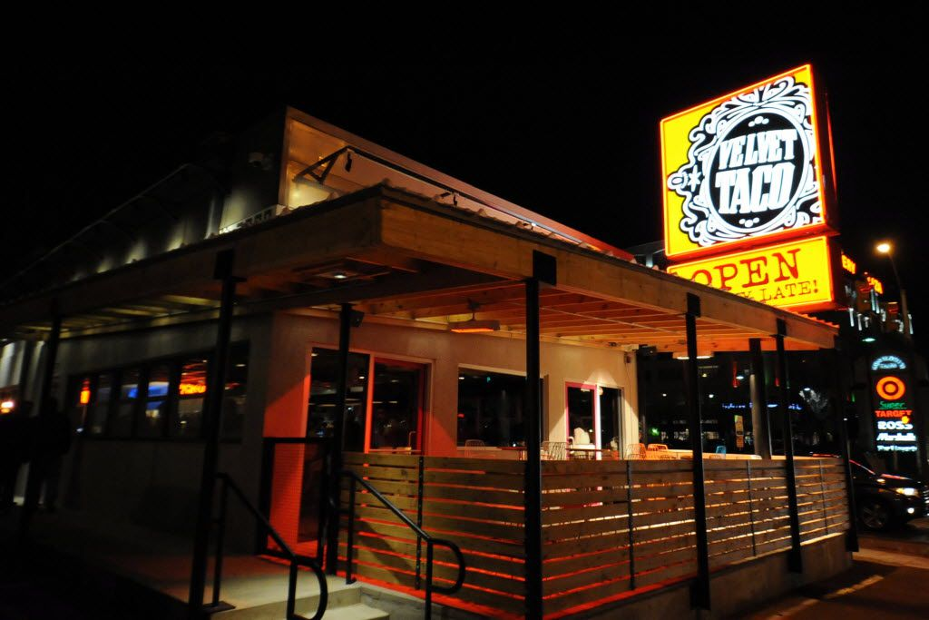 Velvet Taco is changing the rule on what 'late' means. Now, the Dallas shop is open until 5 a.m. The Fort Worth restaurant, pictured here, will not stay open until 5 a.m.