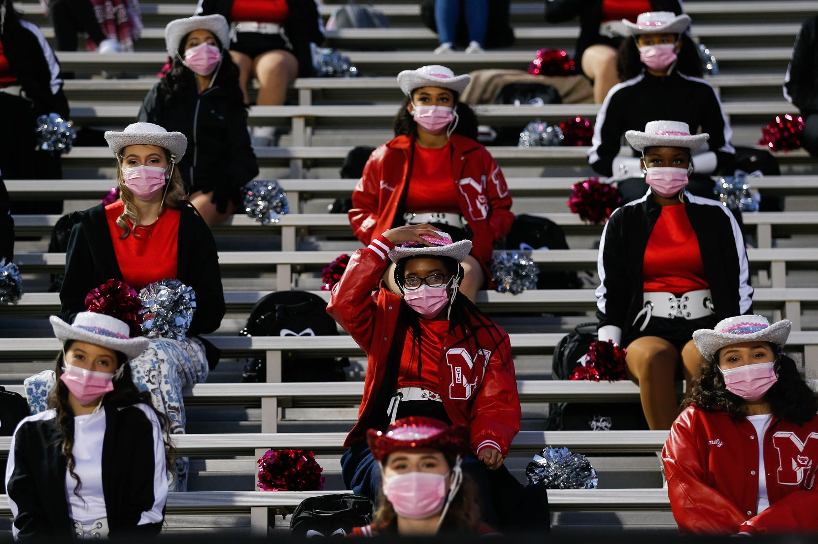 Irving MacArthur High School students before a football game against Lake Highlands at Joy & Ralph Ellis Stadium in Irving on Friday, Oct. 23, 2020. (Juan Figueroa/ The Dallas Morning News)