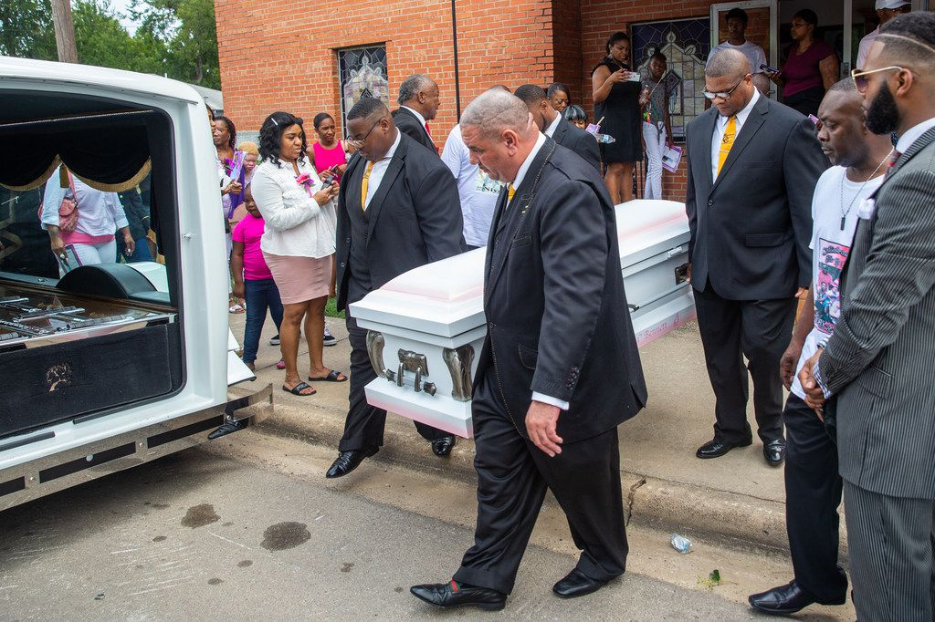 Pallbearers carry the coffin of Brandoniya Bennett after her funeral at New Morning Star Missionary Baptist Church on Friday, Aug. 23, 2019. Bennett was shot and killed inside her Old East Dallas apartment last week.