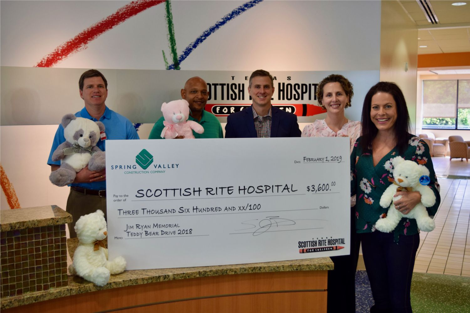 Spring Valley Construction has an annual Jim Ryan Teddy Bear Drive benefiting Texas Scottish Rite for Children.