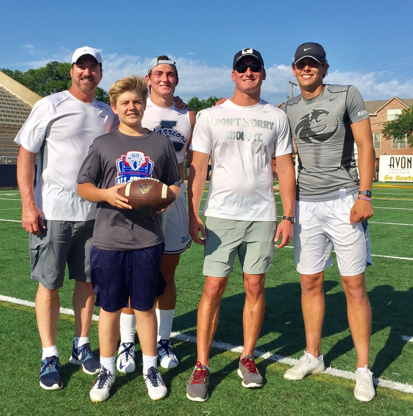 (L-R) Babe Laufenberg, Brayden Schager, Luke Laufenberg, Joe Willie Laufenberg and Nick Starkel. Schager, expected to be the starting quarterback at Highland Park, has worked with the Laufenbergs since he was nine years old.