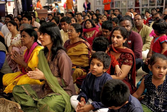 A crowd participates in the Diwali celebration at the Karya Siddhi Hanuman Temple in Frisco on Oct. 26. Nearly 15 years ago, Frisco had only 193 Indians. But a census survey two years ago shows that population has climbed to 4,627.