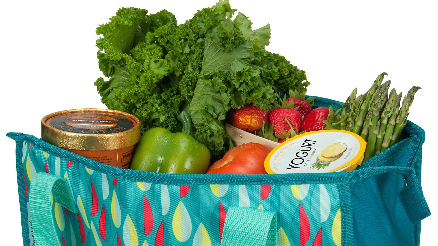 Shop with a reusable bag to cut down on plastic waste.