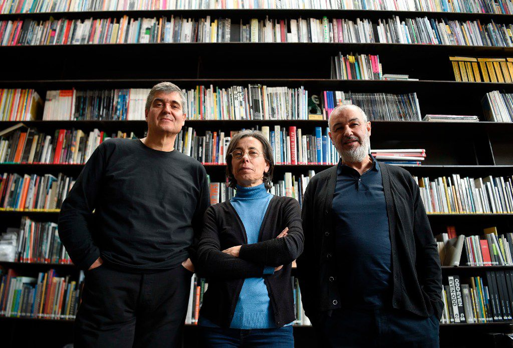 """Pritzker Prize 2017 winner, RCR architects, formed by three Spanish architects, from left, Rafael Aranda, Carme Pigem  and Ramon Vialta pose in their office, the """"Barberi Space"""" in Olot on March 2."""