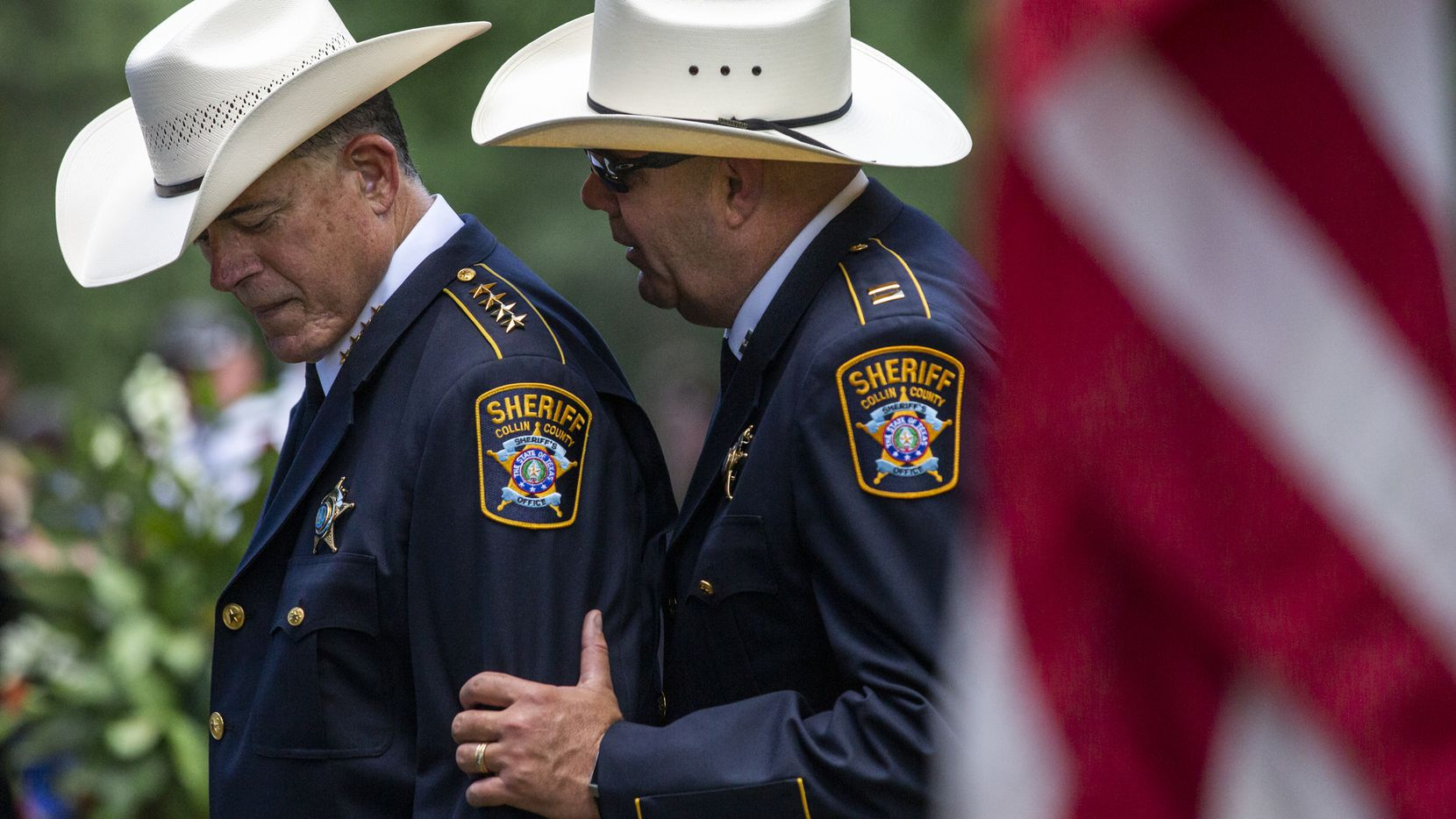 Collin County Sheriff Jim Skinner (left) has left questions unanswered about an improper traffic stop by one of his deputies.