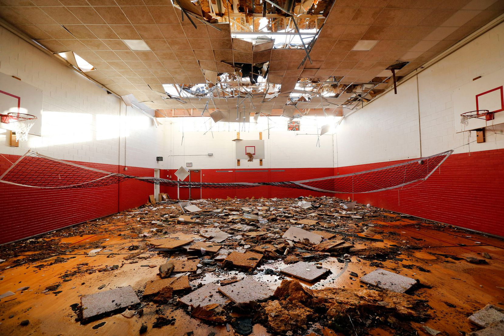 The gymnasium inside what's left of Cary Middle School, which Dallas ISD has said is a complete loss