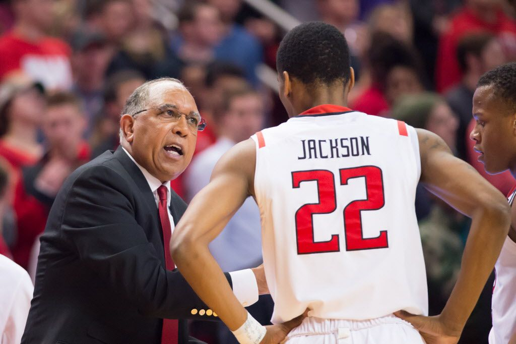 LUBBOCK, TX - JANUARY 23: Head coach Tubby Smith of the Texas Tech Red Raiders talks with Jordan Jackson #22 of the Texas Tech Red Raiders during the game against the West Virginia Mountaineers on January 23, 2016 at United Supermarkets Arena in Lubbock, Texas. West Virginia won the game 80-76. (Photo by John Weast/Getty Images)