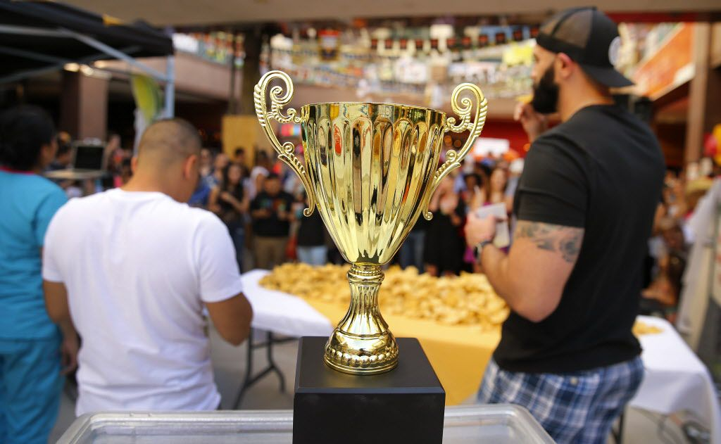 In celebration of Cinco De Mayo, Mattito's Tex-Mex restaurant in Dallas held a queso eating competition, Thursday, May 5, 2016. The winner not only received their name on the Bob Armstrong Cup but received a years worth of quest at the Uptown area eatery.  (Tom Fox/The Dallas Morning News)