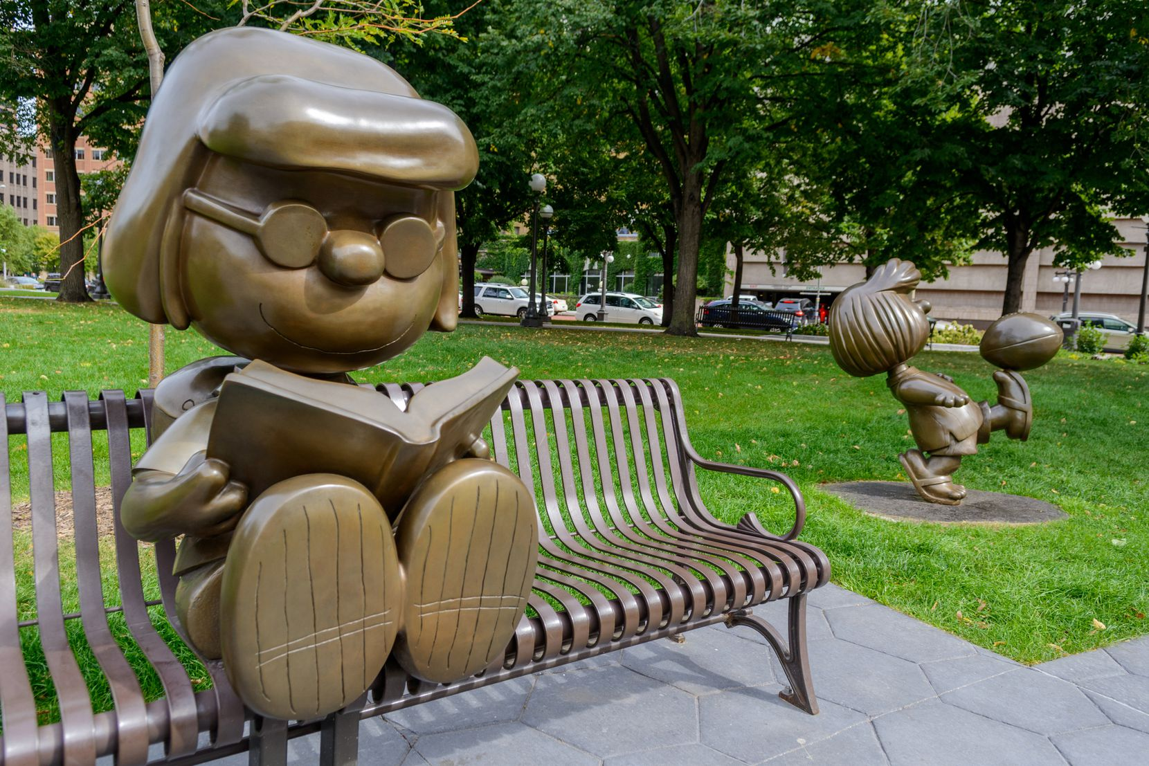 """Rice Park is home to several bronze statues, including some """"Peanuts"""" characters as an ode to St. Paul native Charles Schulz."""