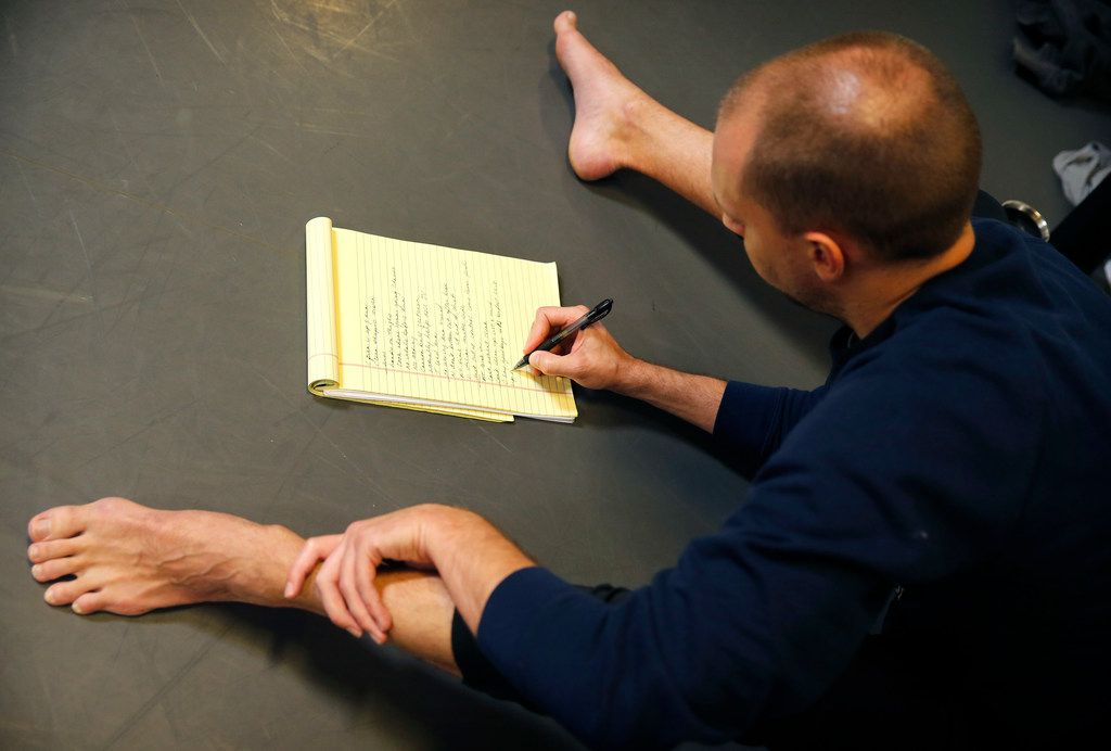 Dark Circles Contemporary Dance artistic director Joshua L. Peugh takes notes during a run-through of his new work, Aladdin, Habibi.