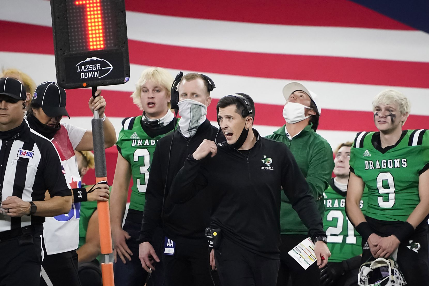 Southlake Carroll head coach Riley Dodge reacts to a play during the second quarter of the Class 6A Division I state football championship game against Austin Westlake at AT&T Stadium on Saturday, Jan. 16, 2021, in Arlington, Texas.