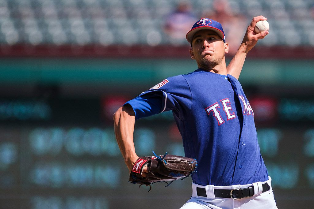 Texas Rangers pitcher Brett Martin pitches during the sixth inning of a spring training baseball game against the Cleveland Indians at Globe Life Park on Tuesday, March 26, 2019, in Arlington. (Smiley N. Pool/The Dallas Morning News)