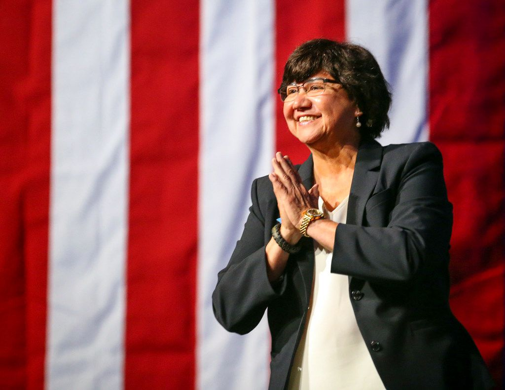 Gubernatorial candidate Lupe Valdez was greeted in June as she took the stage during the general session at the Texas Democratic Convention in Fort Worth. Dallas County authorities say a new inventory search has turned up Valdez's gun that was reported missing after she stepped down to run for governor.