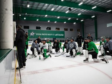 The Stars gather during practice on July 14, 2020.