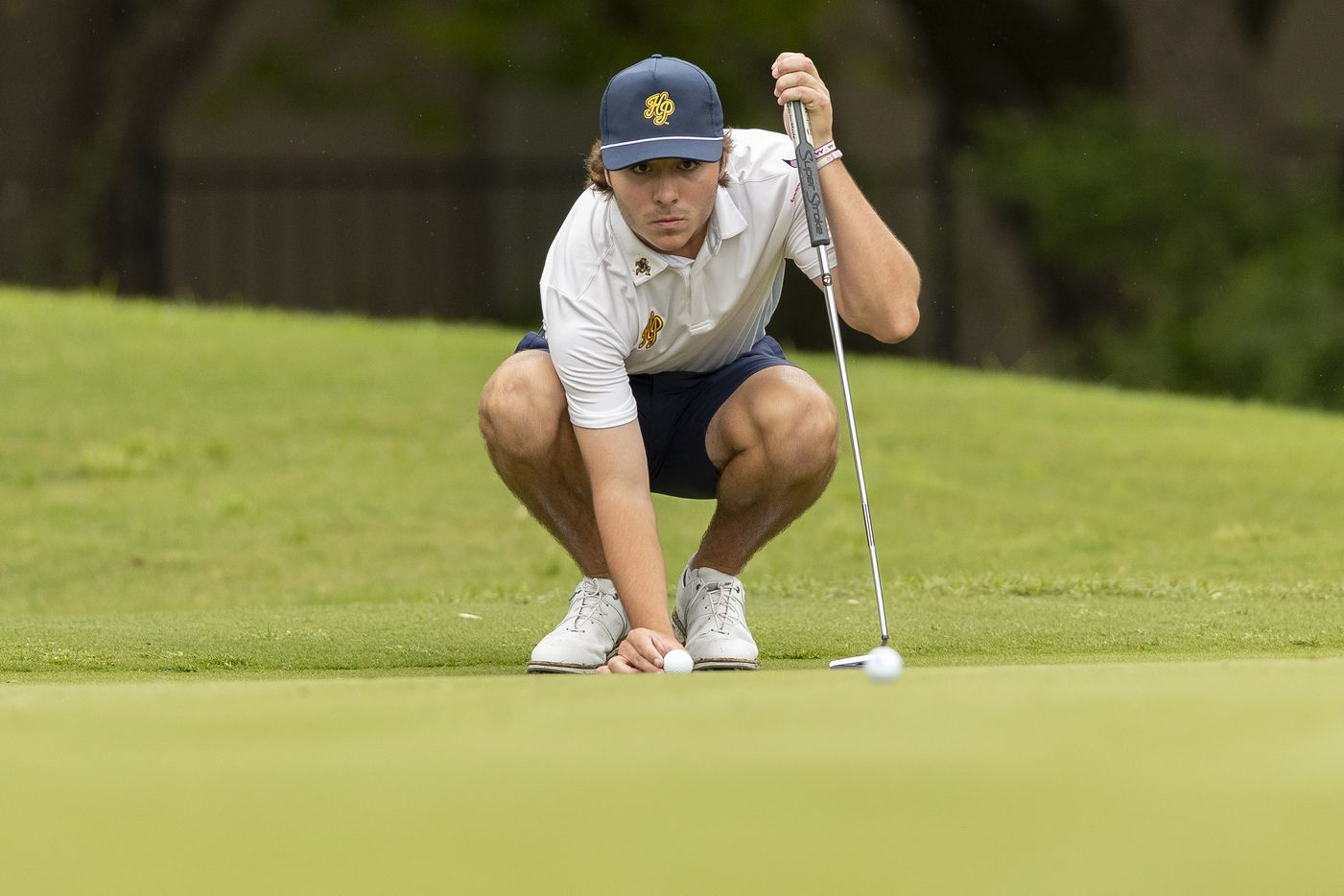 Highland ParkÕs Christian Clark studies his shot on the 10th green during round 1 of the UIL Class 5A boys golf tournament in Georgetown, Monday, May 17, 2021. (Stephen Spillman/Special Contributor)