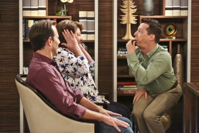 Margo Martindale in a scene from the new season of The Millers, which premieres Oct. 30 on CBS. Sean Hayes (right) joins the cast this season. At left, Will Arnett.