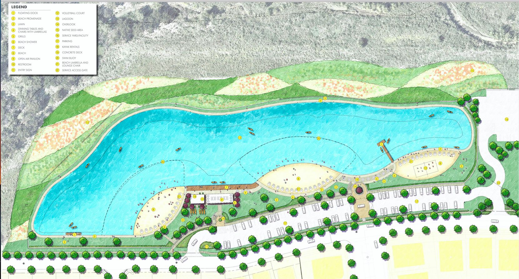The Windsong Ranch Crystal Lagoon will have three beaches, a boardwalk and boat dock.