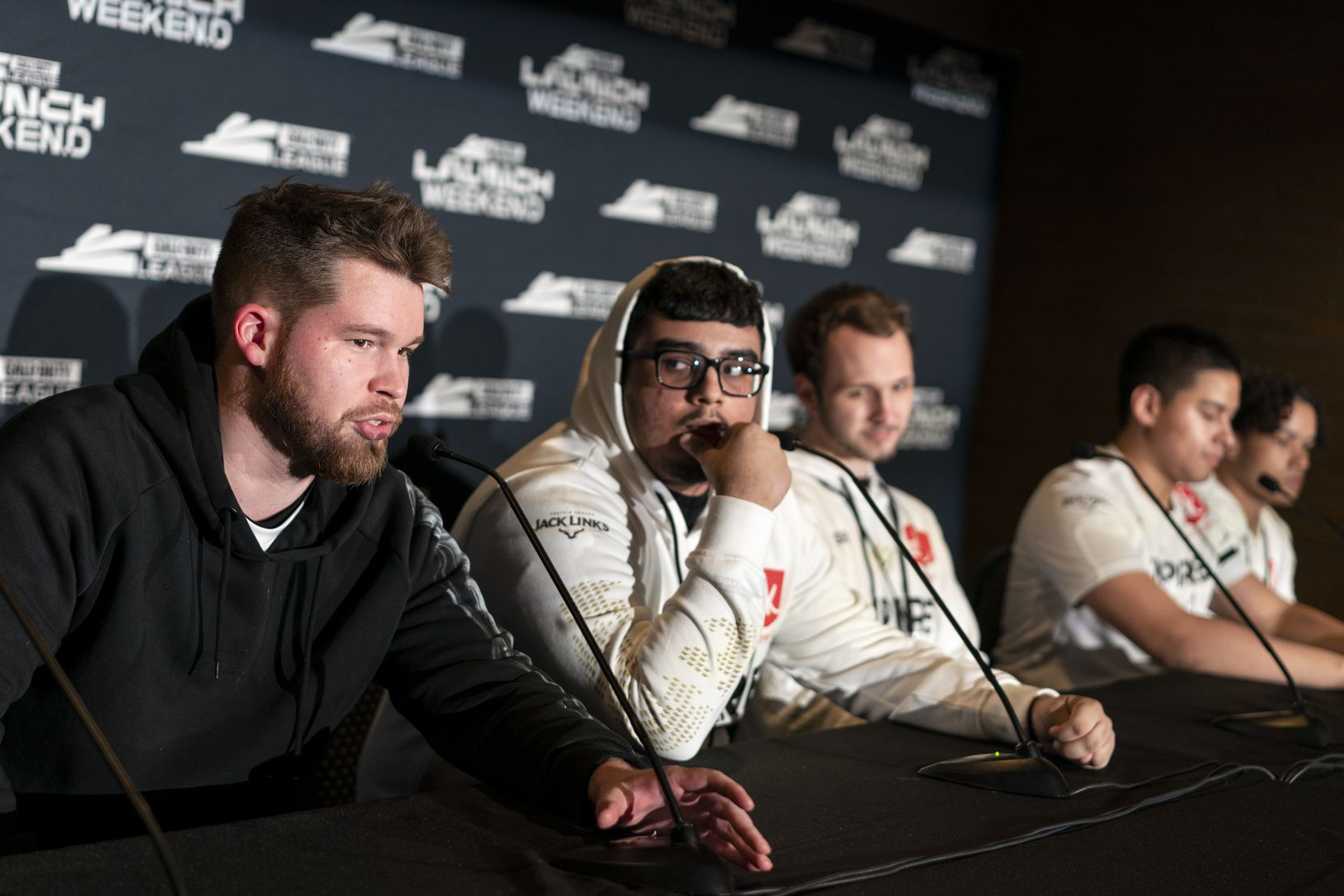 """Ian """"Crimsix"""" Porter talks to the media after Dallas Empire lost to Atlanta Faze in the Call of Duty League Launch Weekend at the Armory in Minneapolis, Minn., January 25, 2020."""