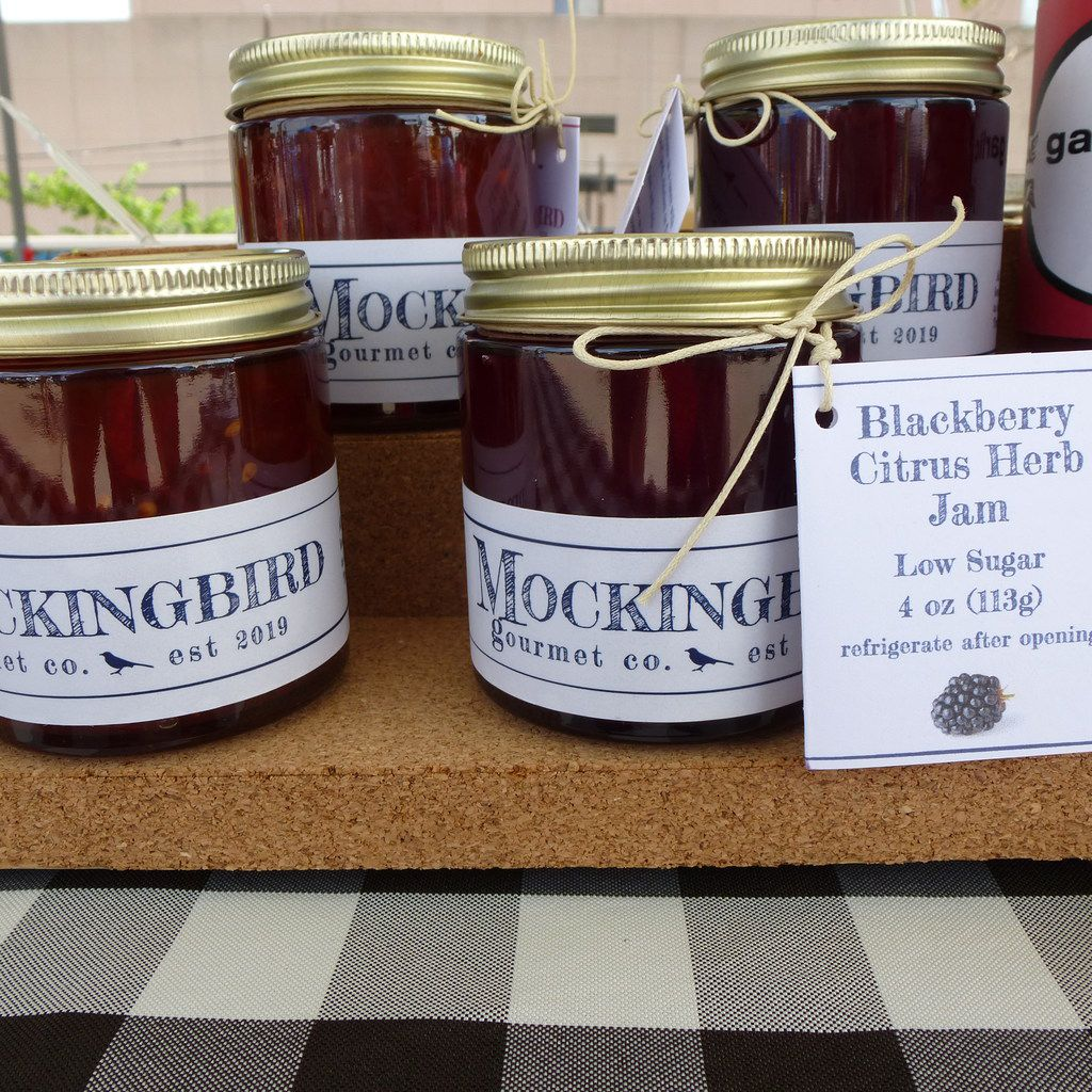 Stephanie Magilow's small-batch Mockingbird Gourmet Co. jams at St. Michael's Farmers Market include the names of the locals farms where the fruit is grown.