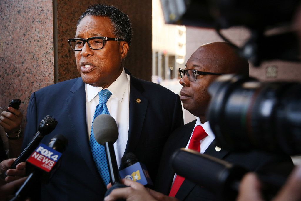 Dwaine R. Caraway, city councilman from district 4, speaks to the media after a federal judge heard arguments on whether a statue of Confederate general Robert E. Lee continues to stand in the Oak Lawn neighborhood of Dallas at the Earle Cabell Federal Building in downtown Thursday September 7, 2017. U.S. District Judge Sidney Fitzwater halted the statue's removal in Dallas on Wednesday after near-unanimous City Council vote. Fitzwater then dissolved the temporary restraining order Thursday, which prevented the city from removing the statue after Dallas resident Hiram Patterson and the Sons of Confederate Veterans complained to the court that the City Council had violated the First Amendment and its own rules of procedure.