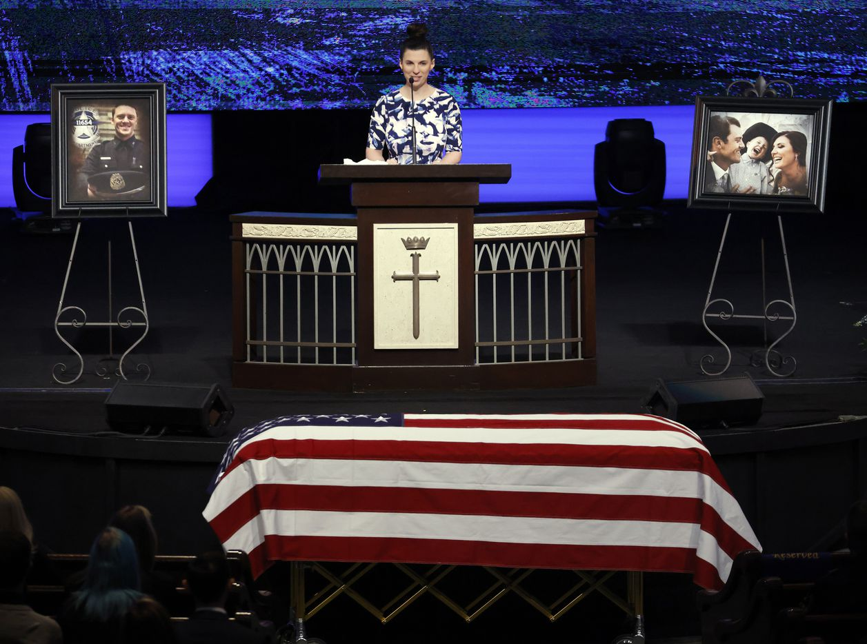 Caitlin Miller delivers a tribute during the funeral service for her longtime friend and Dallas Police officer Mitchell Penton at Prestonwood Baptist Church in Plano, Monday, February 22, 2021. Penton was killed Saturday, Feb. 13, 2021, in a crash involving a drunk driving suspect. (Tom Fox/The Dallas Morning News)