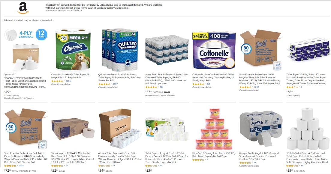 Many of Amazin's toilet paper offerings were unavailable on Friday as consumer demand shifts amid coronavirus.